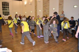 Sutton Brownies joining in a game