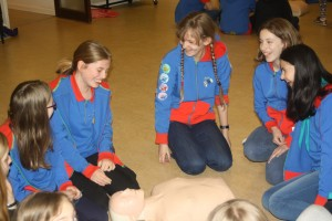 1st Swavesey Guides practice CPR