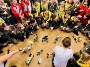 Rainbows and Brownies do civil engineering with Lego at STEM day